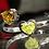 Thumbnail: Fancy lime and orange heart shape diamonds