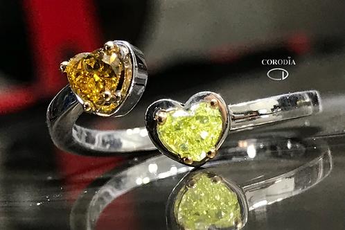 Fancy lime and orange heart shape diamonds