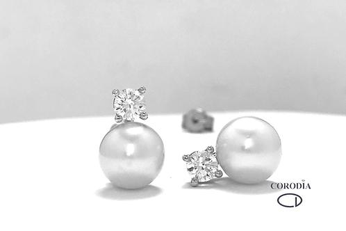Pendiente Perlas y Brillantes
