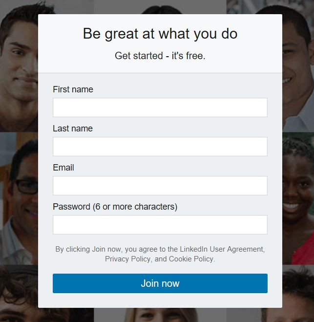 LinkedIn sign up screen