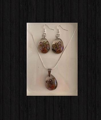 Orgonite Set Earrings/Necklace Silver