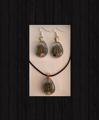 Orgonite Set Earrings/Necklace Leather
