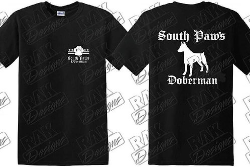 South Paws Doberman in Black and white