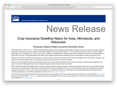 Crop Insurance Deadline is March 15.  Here is an update from the USDA.