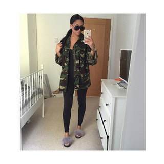 Charlotte seen sporting a camoflauge jacket with a black unitard and our AW16 Charco, love the contrast in colours.  @charlotteemilysanders