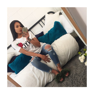 Ripped jeans, Printed tee and khaki furrys, yes please. @she.fleeks.her