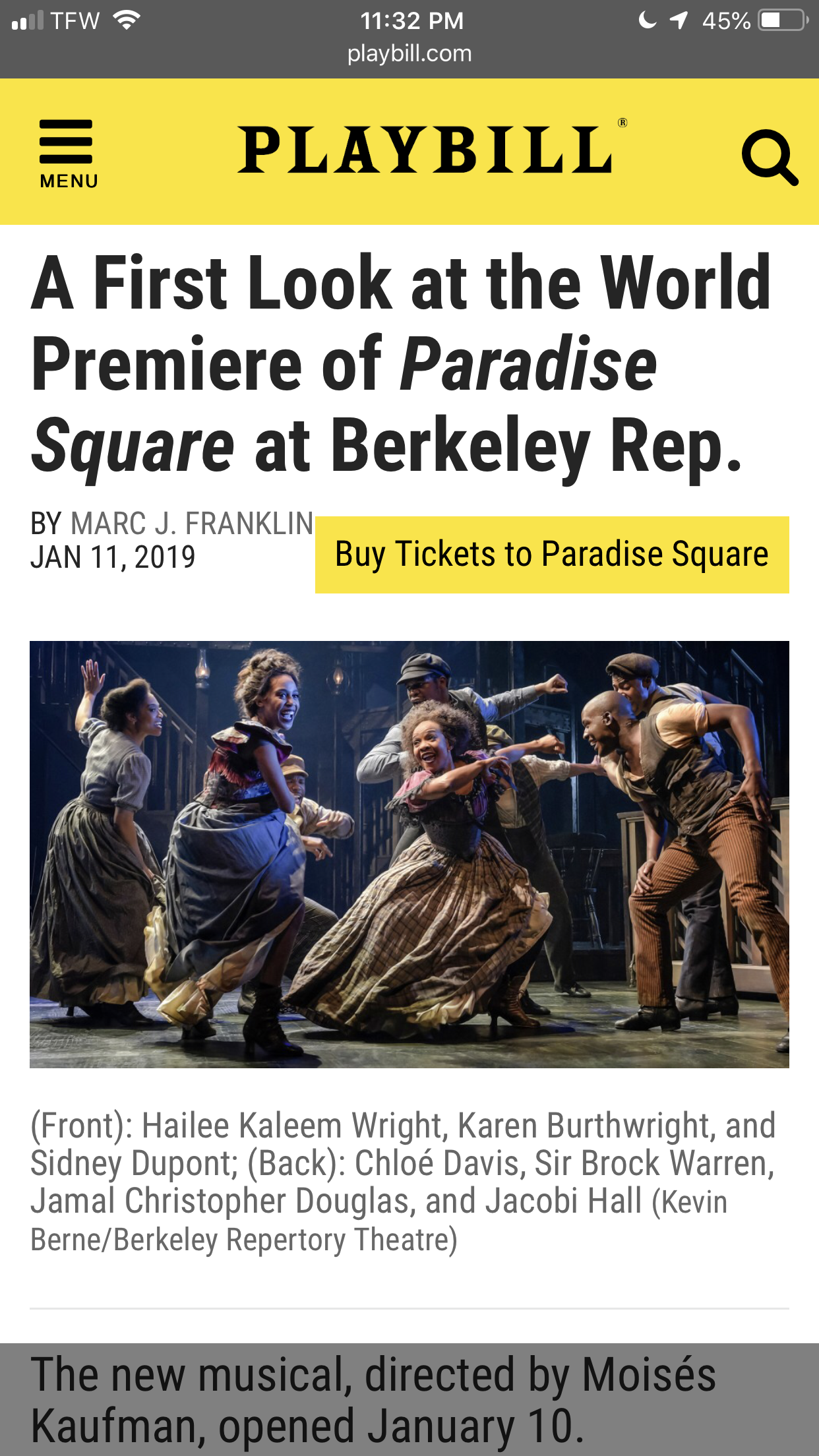 Playbill Writeup of Paradise Square