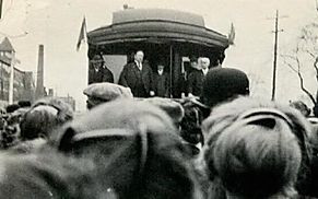 President Taft addressing supporters from his train car in Bridgewater, Massachusetts, 1912