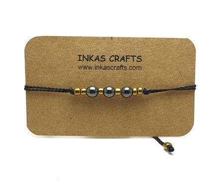Stones and ball beads bracelets with adjustable black cord
