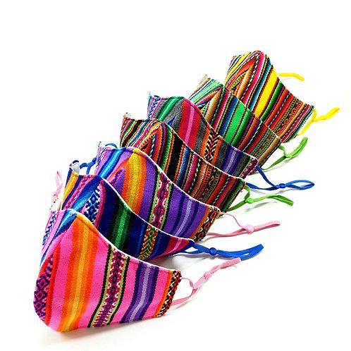 Peruvian Fabric Face Mask | Adult Size | Triple Layered  |  Adjustable Straps  |