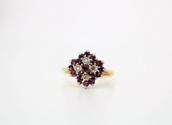9ct Yellow Gold Ruby & Diamond Cluster Ring - Second Hand