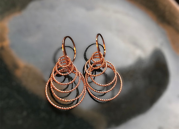 Silver Rose Gold Plated Drop Circle Earrings