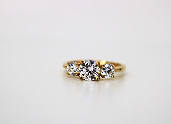 9ct Yellow Gold Cubic Zirconia Trilogy Ring - New