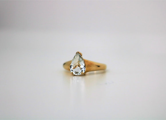 9ct Yellow Gold Cubic Zirconia Teardrop Ring - Second Hand