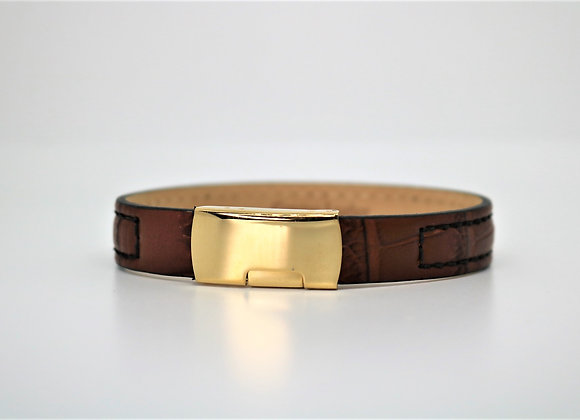 Tribal Stitched Brown Leather Bracelet