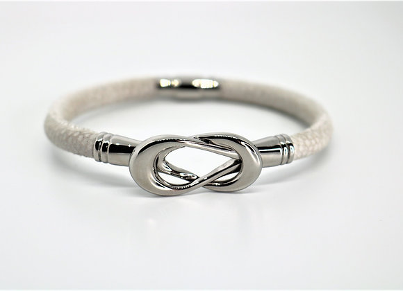 White Tribal Leather Bracelet