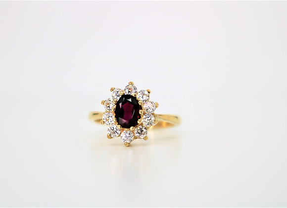 9ct Yellow Gold Cluster Garnet Ring - New