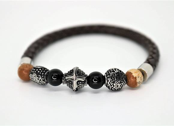 Tribal Brown Leather And Half Bead Bracelet.