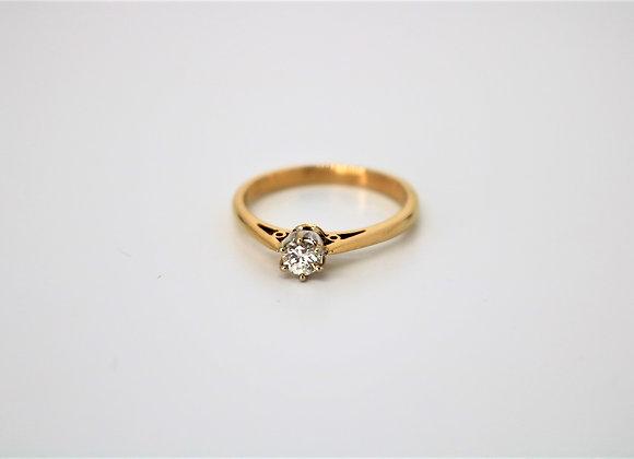 18ct Yellow/White Gold Solitaire Diamond Ring - New