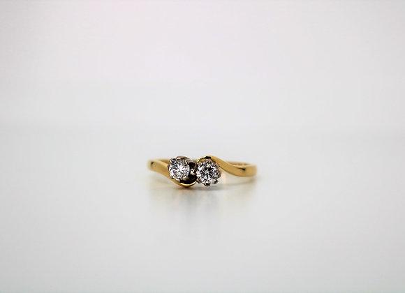 18ct Yellow/White Gold Diamond Ring - New