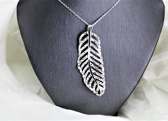 Big Feather Silver Necklace