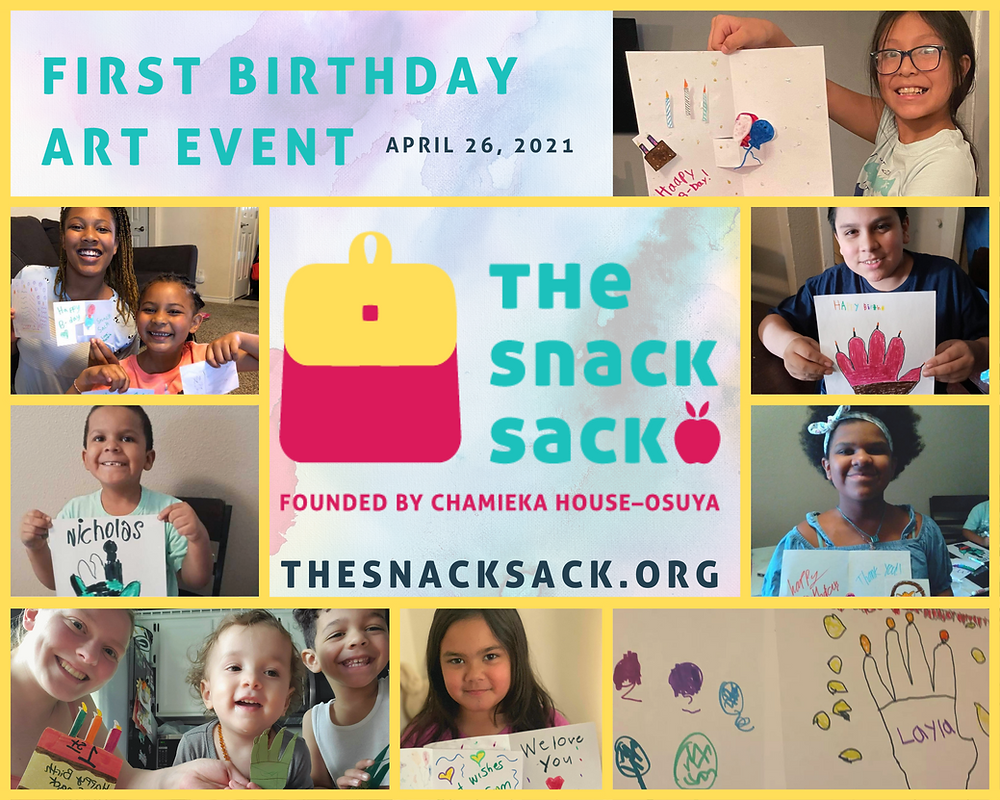 A collage of children holding hand made birthday cards to celebrate The Snack Sack's first birthday.