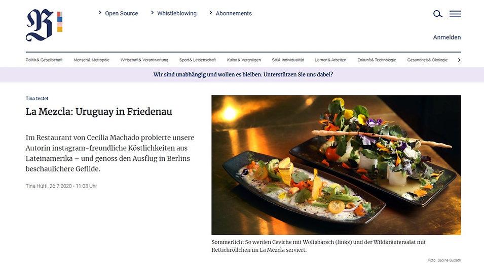 berliner zeitung, La mezcla restaurant, la mezcla berlin, essen steglitz, essen Friedenau, restaurant friedenau,  Fusión restaurant near me, fusión restaurant berlin, fusion küche, fusion küche berlin,