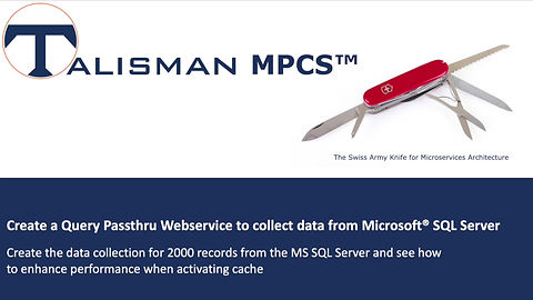Demostration on how fast and easy it is to create a Query Pasthru Webservice to collect data from Microsoft® SQL Server with Talisman MPCS™.