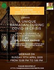 A Unique Ramadan During COVID-19 Crisis