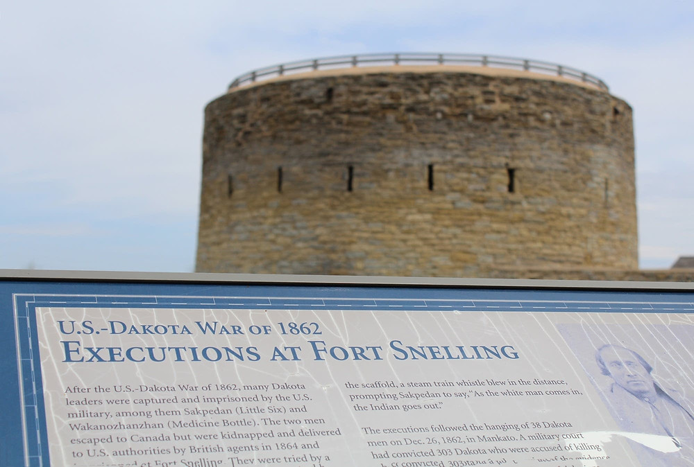 A sign seen at Fort Snelling on Friday.