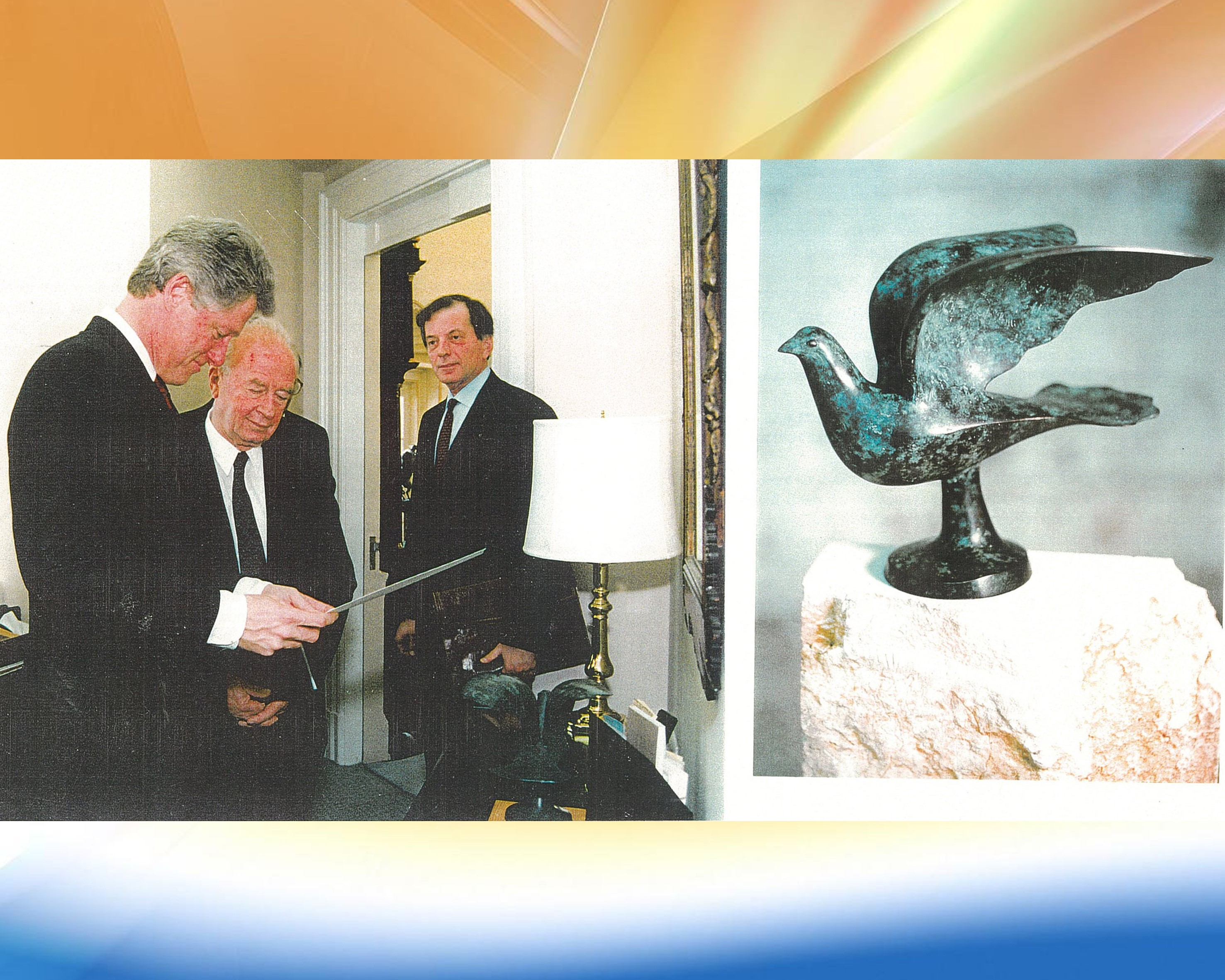 'The Dove of peace' given as a gift by Prime Minister Yitzhak Rabin to US President Bill Clinton