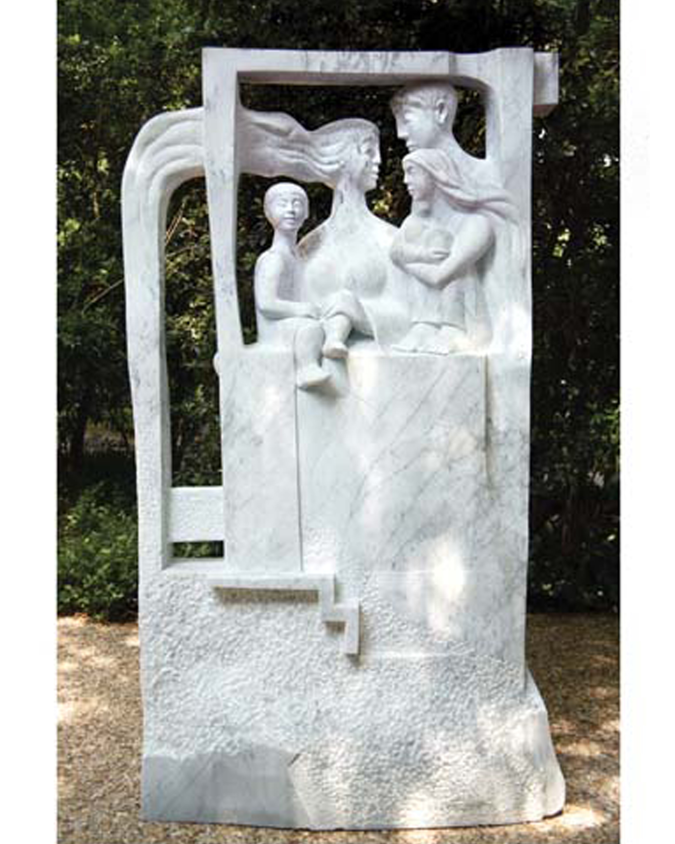 'Family in the window' white Carrara marble H. 270cm