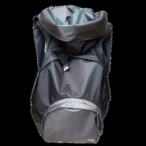 Mochila preta - capuz interno e bolso externo cinza escuro