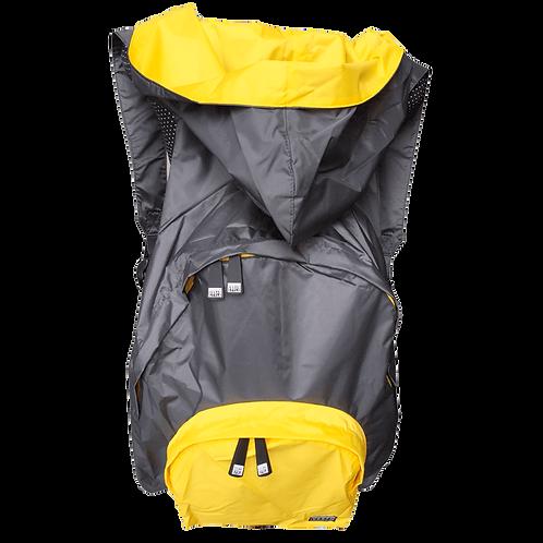 Mochila cinza escuro - capuz interno e bolso externo amarelo