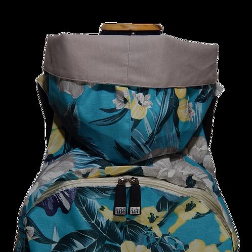 Mochila com capuz - waterblock - floral azul