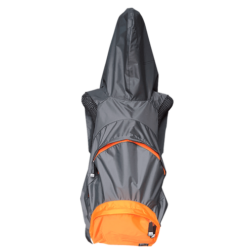 Mochila com capuz - cinza escuro - capuz interno e bolso externo laranja