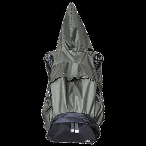 Mochila com capuz - verde militar - capuz interno e bolso externo preto