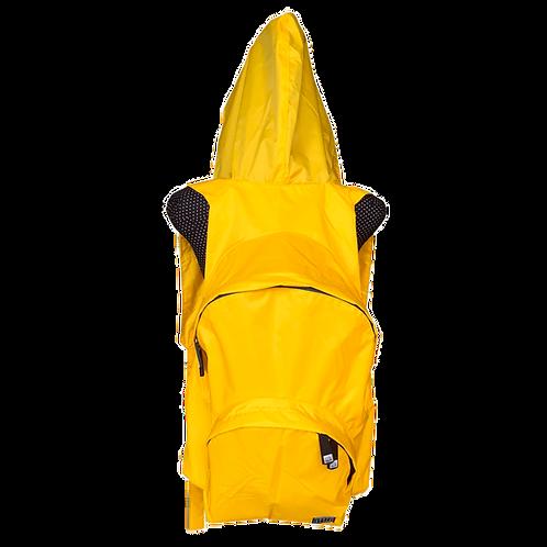 Mochila com capuz - amarela - capuz interno cinza escuro