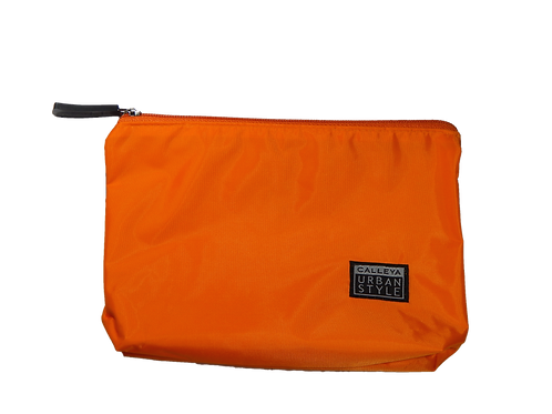 Nécessaire nylon laranja - zíper cinza