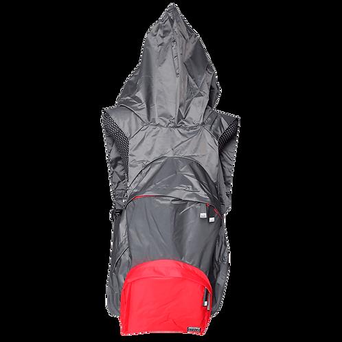 Mochila com capuz - cinza escuro - capuz interno e bolso externo vermelho
