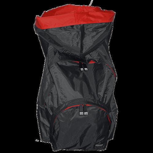 Mochila cinza escuro - capuz interno vermelho