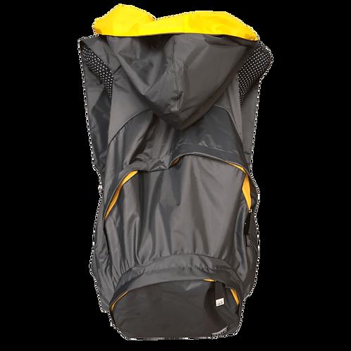Mochila cinza escuro - capuz interno amarelo