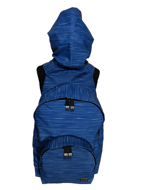 Mochila com capuz - waterblock - rajada azul