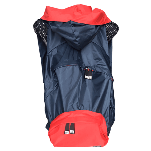 Mochila marinho - capuz interno e bolso externo vermelho