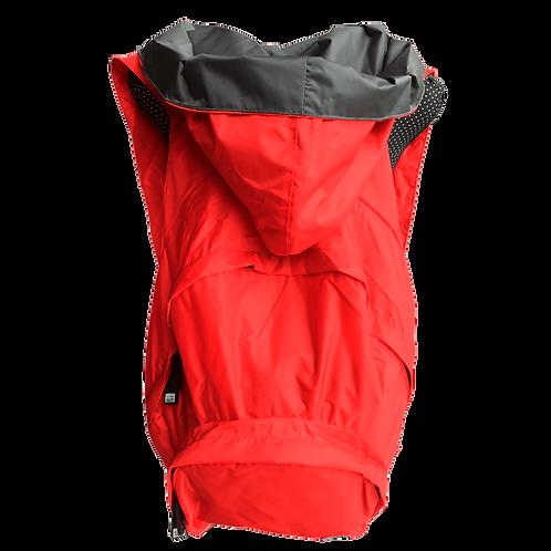 Mochila vermelha - capuz interno cinza escuro