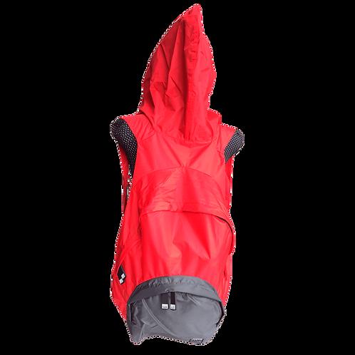Mochila com capuz - vermelha - capuz interno e bolso externo cinza escuro