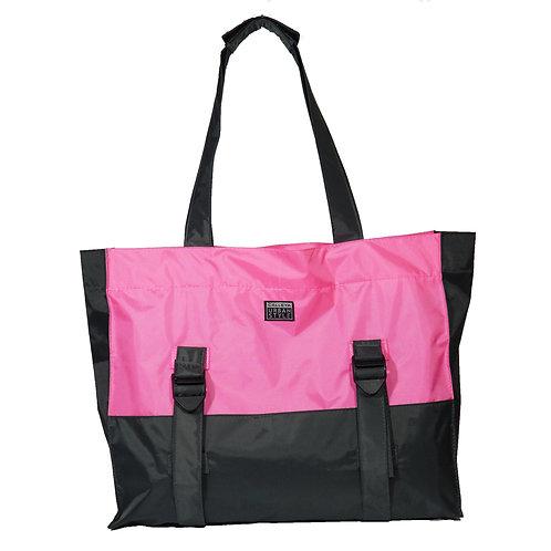 Bolsa cinza e rosa