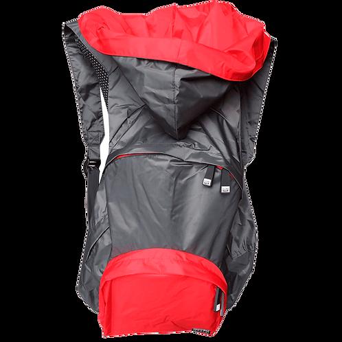 Mochila cinza escuro - capuz interno e bolso externo vermelho