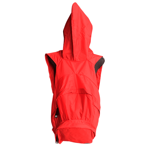 Mochila com capuz - vermelha - capuz interno cinza escuro