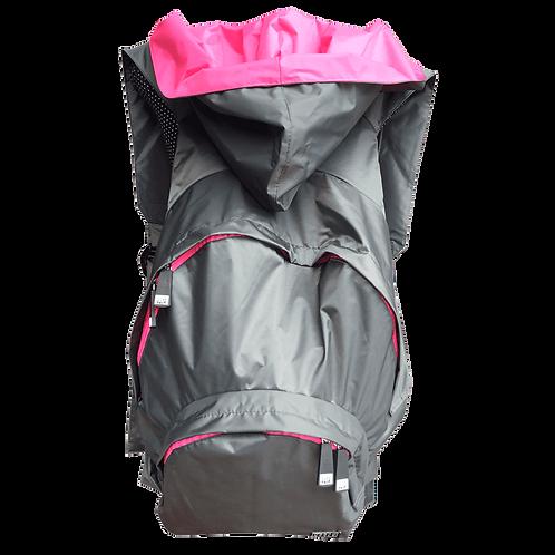 Mochila cinza escuro - capuz interno rosa